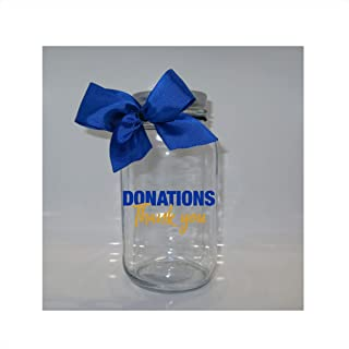 Donations Thank You Mason Jar Bank - Coin Slot Lid - Available in 3 Sizes