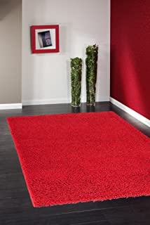 Ottomanson Soft Cozy Color Solid Shag Area Rug Contemporary Living and Bedroom Soft Shag Area Rug, Red, 5'3