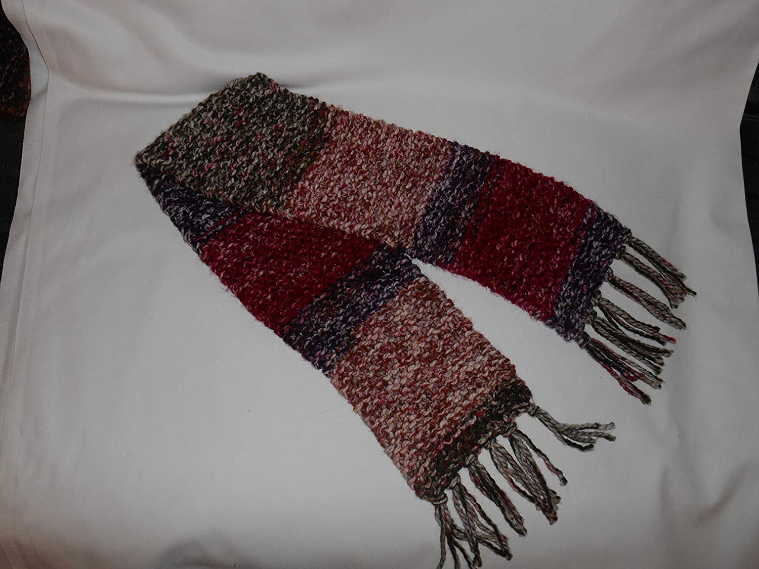 Crocheted Scarf Red and Purple stripes yarn soft Detroit Save money Mall variegated