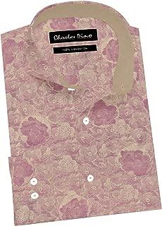 Charles Dino Beige Light Pink Jacquard Regular Fit Men's Casual Wear Giza Cotton Shirt