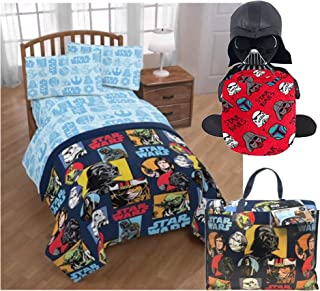 Disney Star Wars Twin Bedding Set with Darth Vader Pillow Buddy and Throw Blanket
