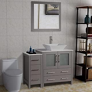 Vanity Art 42 inch Single Sink Bathroom Vanity Set with Compact 2 Door, 5 Drawer - Slim and Modern - White Quartz Top Bathroom Cabinet Free Mirror (Gray) - VA3130-42