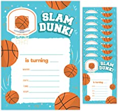 Basketball 1 Happy Birthday Invitations Invite Cards (10 Count) With Envelopes Boys Girls Kids Party (10ct)