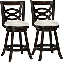 CorLiving DWG-814-B Woodgrove Wood Counter Height Barstool with Leatherette Seat in Cappuccino, 360 Swivel, 24-Inch Seat Height, Set of 2