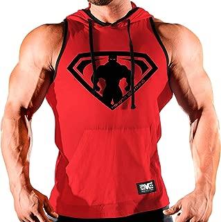 Monsta Clothing Co. Men's Workout (Monsta-Man Muscle Symbol) Gym Hooded Tank Top