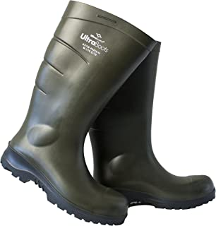 UltraSource Polyurethane Steel Toe Work Boots, Green, Size 9