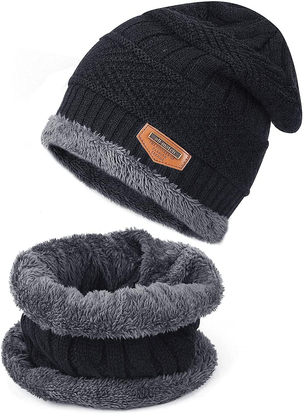 TAGVO Winter Beanie Hat Scarf Set Super Soft Fleece Inner Lining Great Warm Stretchy Knit Beanie Cap Elastic Neck Warmer Snugly Fit for Women Ladies Girls Boys Adults Kids