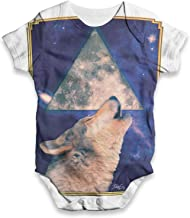 TWISTED ENVY Howling Wolf Baby Unisex Funny All-Over Print Bodysuit Baby Grow Baby Romper