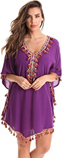 Riviera Sun Swimsuit Beach Cover Up Caftan for Women with Tassels and Embroidery
