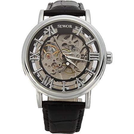 SEWOR Men's Mechanical Skeleton Transparent Vintage Style Leather Wrist Watch for Man