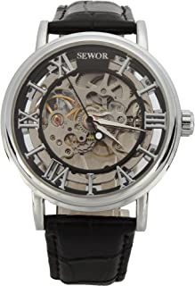 SEWOR Men's Mechanical Skeleton Transparent Vintage Style Leather Wrist Watch