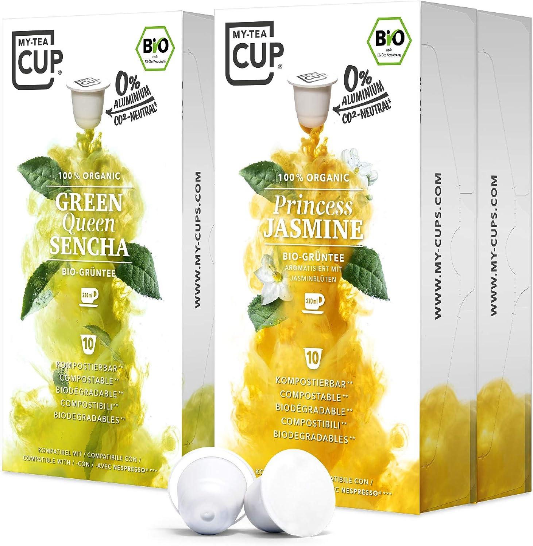 My Tea Cup Cápsulas de Té Verde Orgánico Duo Pack - Green Queen Sencha y Princess Jasmine - Cápsulas Compatibles Nespresso®³ - Compostables Industrialmente - 2 Variedades, 4 Cajas, 40 Cápsulas