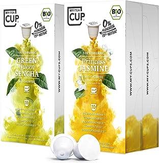 My Tea Cup – GRÜNTEE-BOX: 4 x 10 KAPSELN BIO-TEE I 2 SORTEN BIO-TEE BIO-GRÜNTEE I 40 Kapseln für Nespresso³-Kapselmaschinen I 100% industriell kompostierbare & nachhaltige Teekapseln – 0% Alu