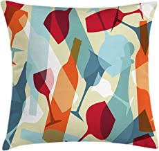 Ambesonne Wine Throw Pillow Cushion Cover, Modern Design Colorful Silhouettes of Glasses Bottles Fun Party, Decorative Square Accent Pillow Case, 16