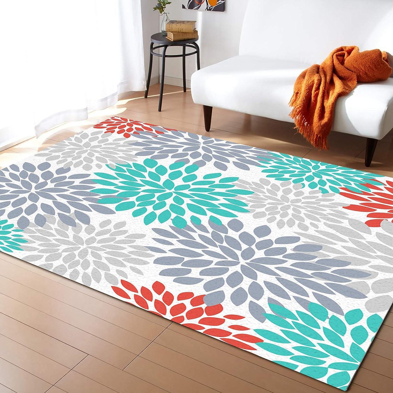 Caffling Alternative dealer Modern Sacramento Mall Area Rugs for Living Room Feet Teal Da Gray 4x6
