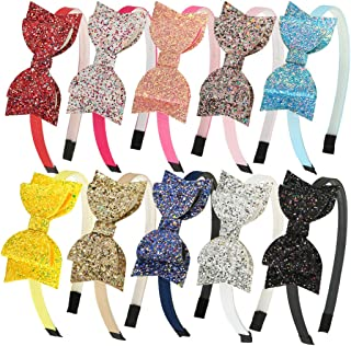 XIMA 10pcs Glitter Sequin Bow Hairband Shiny Bow Knot...