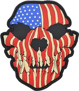 Canine Skull USA Flag - 3x3.5 PVC Patch