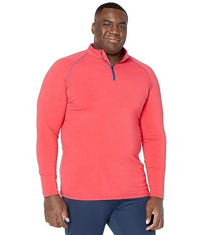 Kickee Pants Big Tall Long Sleeve Performance Jersey Sport Tee (1/4 Zip) (Flag Red/Navy) Men