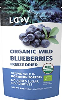 Sponsored Ad - LOOV Wild Organic Dried Blueberries, no Added Sugar, no Added Oil, 4 Ounces, Freeze Dried Blueberries Organ...