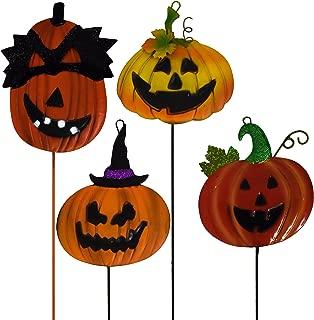 Gift Boutique Halloween Yard Stake Decorations Pumpkin Jack o Lantern Metal Garden Yard Signs, Set of 4 Outdoor Party Decor