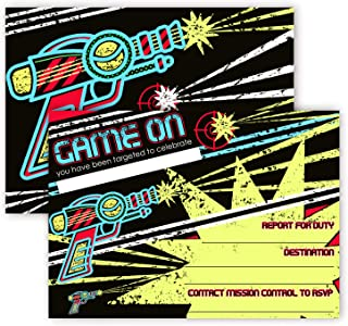 POP parties Laser Tag Invitations - 12 Invitations + 12 Envelopes - Double Sided - Laser Tag Party Supplies - Laser Tag Party Supplies - 12ct Retro New