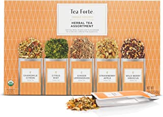 Tea Forte Organic Herbal Tea Sampler, Single Steeps Loose Leaf Tea Gift Box Variety Pack of 15 Single Serve Pouches with N...
