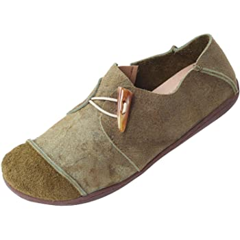 Vogstyle Damen FrühjahrSommer Handgefertigte Leder Ebene Schuhe Grün Art 1 EU40CH41