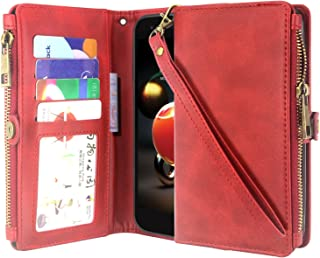 LG Aristo 2/Aristo 3 /Rebel 4 /Phoenix 4 /Rebel 3 LTE/Tribute Dynasty/LG Zone 4/ Fortune 2 Case, Premium Leather Flip Zipper Wallet Case Stand Feature with Card Holder and Wrist Strap - Zipper Red