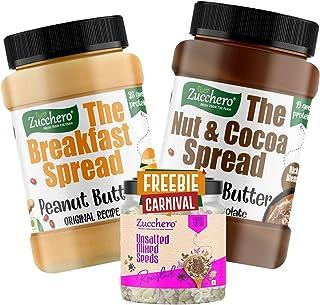 Zucchero Dark Chocolate Peanut Butter (1kg) + Original Recipe PB, Crunchy (1kg) (Combo Pack of 2x1kg + Roasted Seed Mix, 2...