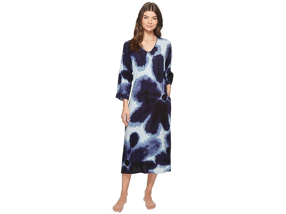 Donna Karan Satin Printed Maxi Sleepshirt (Navy Print) Women