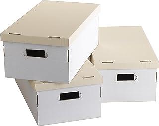 """Lot de 3 Boites """"White and Kraft"""", 52 x 29 x H.20 cm, RAN855"""