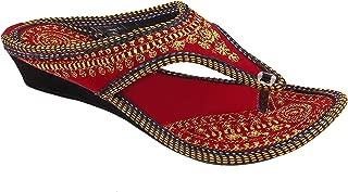 Beauty Craft Women's Velvet Zari Embroidery Work Sandal Ind/UK-4