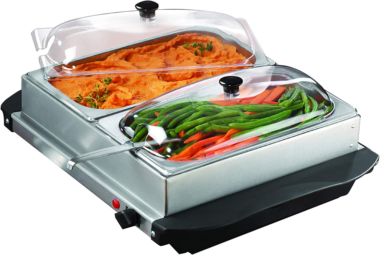 Brentwood 5 ☆ popular 3-Quart 2 Pan Free shipping anywhere in the nation Buffet and Warming Brushed Server Tray