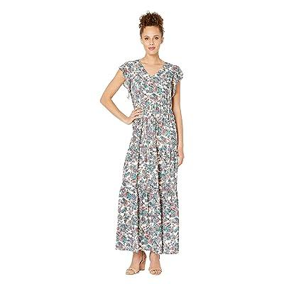 eci Flutter Sleeve Floral Printed Fit Flare Maxi Dress (Beige/Multi) Women