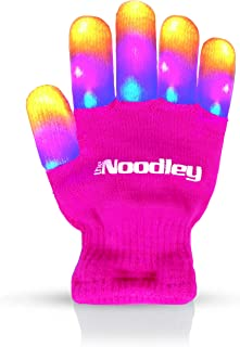 The Noodley Flashing LED Finger Light Gloves with Extra Batteries - Kids and Teen Sized (Small Ages 4-7, Pink)