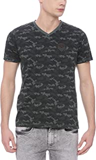 BASICS Muscle Fit Military Green V Neck T Shirt