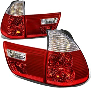 For BMW E53 X5 Pair of Chrome Housing Red Rear Tail Brake+Corner Signal Light