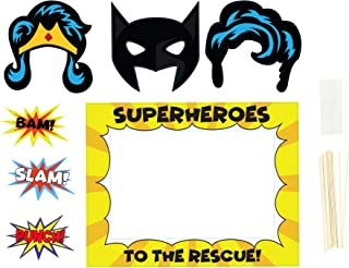 Party Photo Booth Props - 9-Pack Superhero Themed Kids Birthday Party Props, Selfie Props and Picture Frame, Comic Themed Party Prop Signs, Assorted Designs