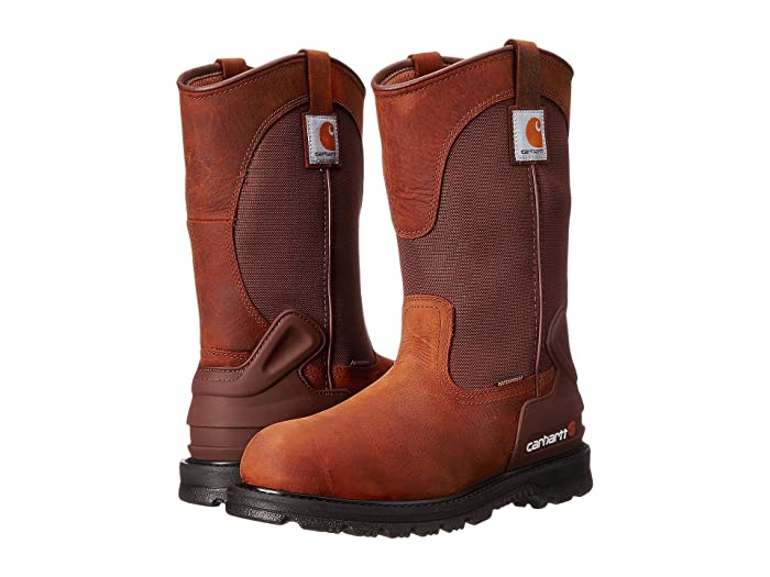 Carhartt  11 Waterproof Non-Safety Toe Wellington Boot (Bison Brown) Mens Work Pull-on Boots