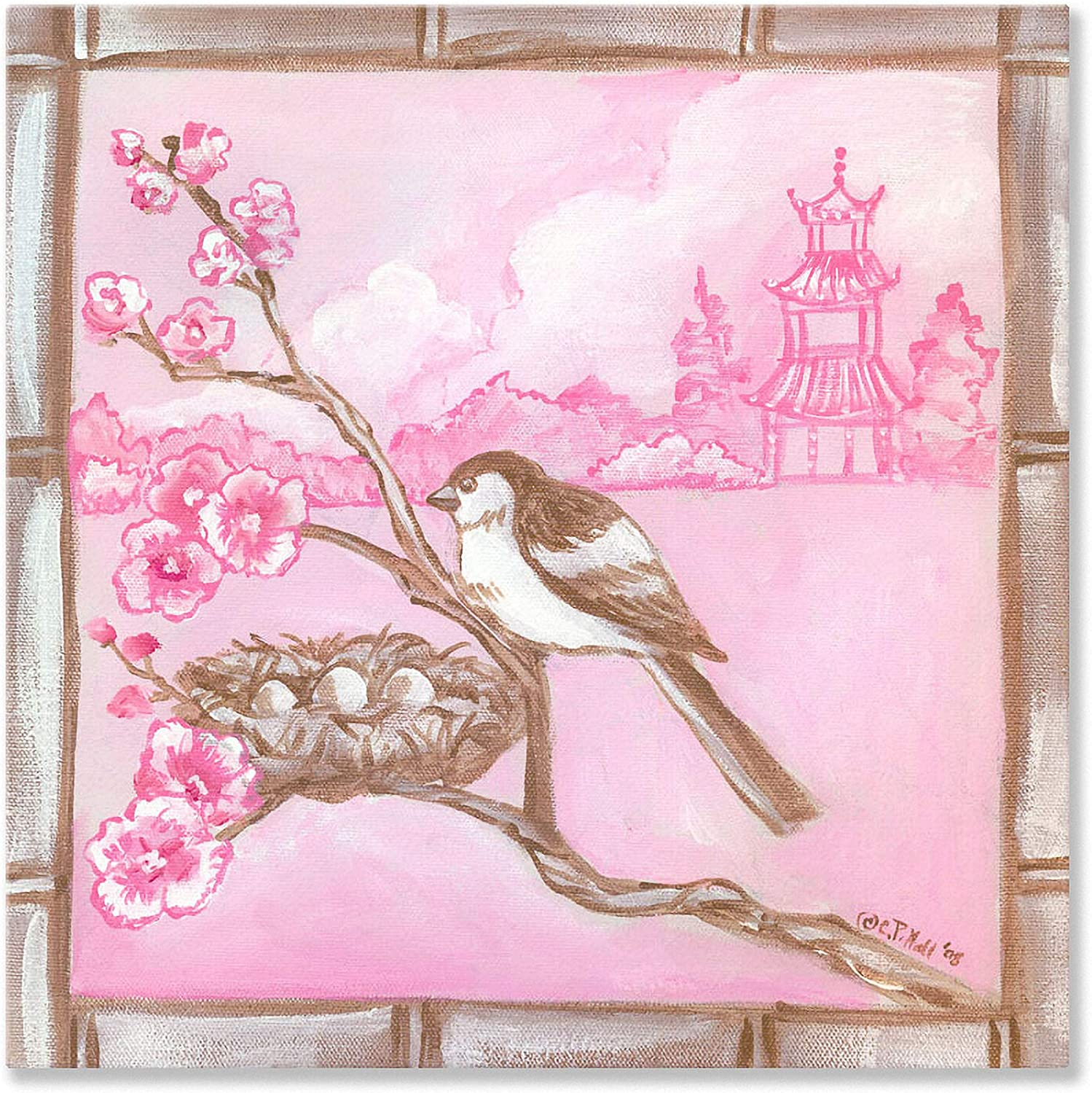 Oopsy Daisy Shanghai Sparrow Cherry Blossoms Stretched Canvas Wall Art by Colleen Phelon Hall, 14 by 14Inch