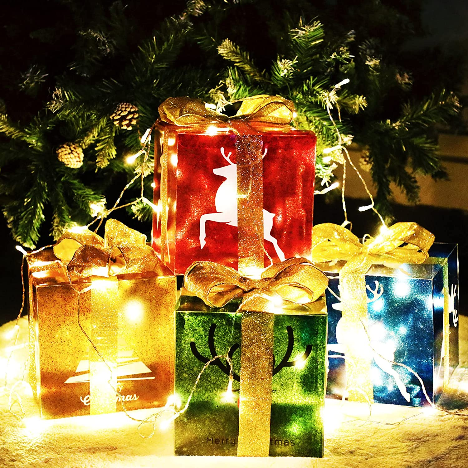 4 Christmas Lighted Gift Boxes and 80 LED Light Decorations, Xmas Tree Reindeer Lit Present Box with Glitter Bows for Indoor Outdoor Yard Home Party Decor