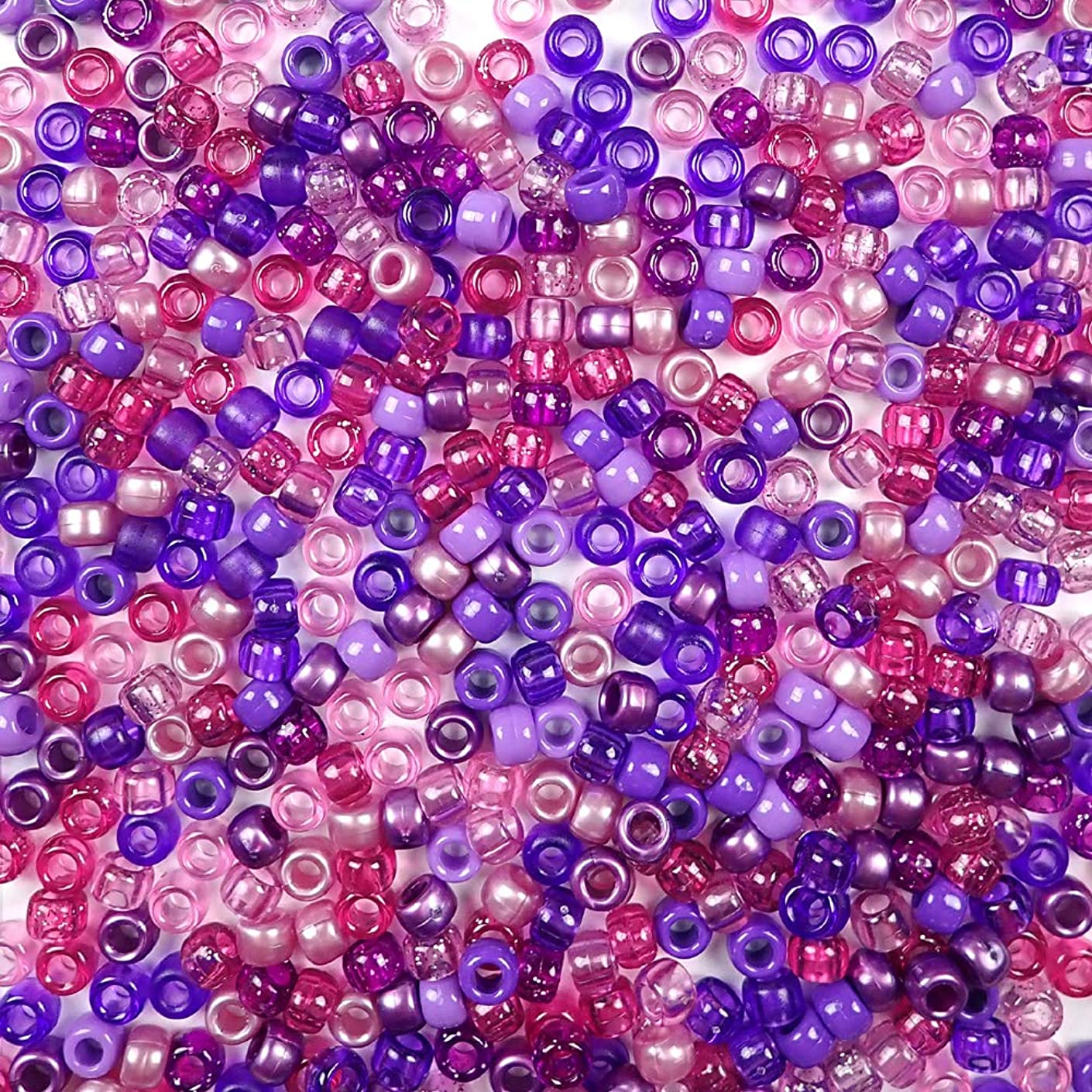 Violet Multicolor Purple Pink Mix Plastic Pony Beads, 6x9mm, 500 Beads