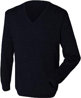 Henbury Mens 12 Gauge Fine Knit V-Neck Jumper/Sweatshirt