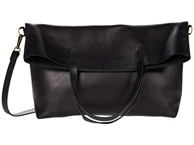 Madewell The Fold-Over Transport Tote (True Black) Handbags