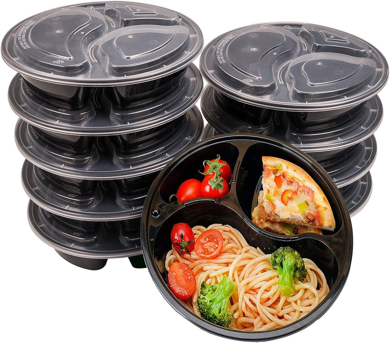 OITUGG 3 Contenedor de Compartimentos de Comida Preparada con Tapa, Apilable, Lavavajillas y Microondas,Reutilizable Caja de Almuerzo 10 Pack by
