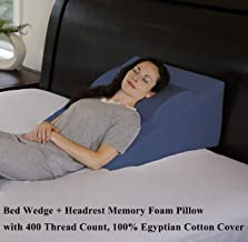 """InteVision Foam Bed Wedge Pillow (25"""" x 24"""" x 12"""") + Headrest Pillow in ONE Package - 2"""" Memory Foam Top - 100% Egyptian Cotton Cover - Helps Relief from Acid Reflux, Post Surgery, Snoring"""