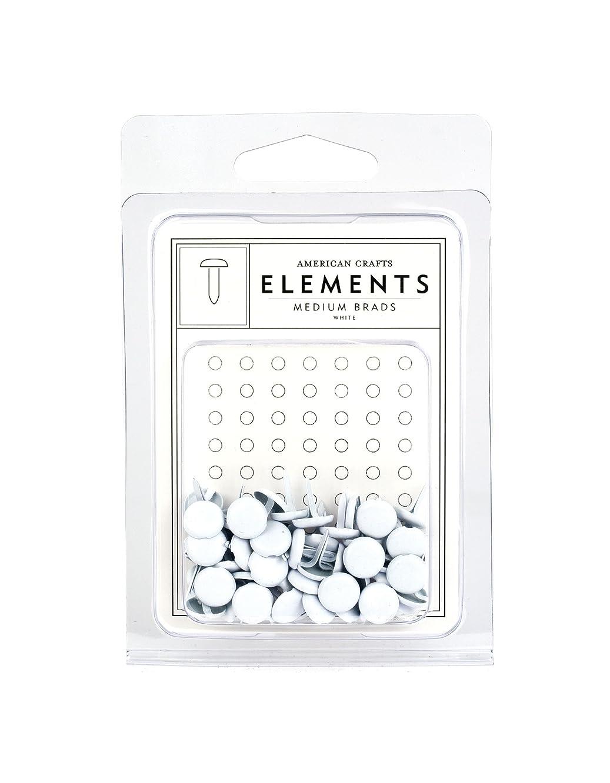 American Crafts Elements Medium Brads, White