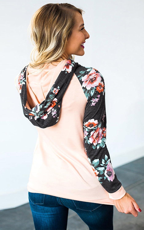 Angashion Damen Hoodies Langarm Kapuzenpullover-Blumenmuster Casual Sweatshirt Pullover Bluse Oberteile Rosa