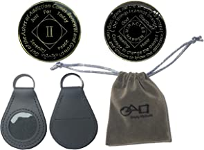 3 Pack-NA Coin, Gold Plated Tri-Plated 2 Year NA Recovery Coin, Coin Holder, and a Velvet Pouch