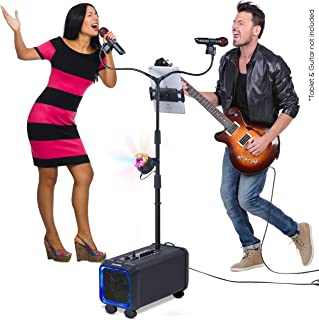 Bluetooth Karaoke Machine for Adults and Kids - 2 Wireless Karaoke Microphones with Duet Mic Stand - Portable PA Speaker System, Disco Ball, Party Lights, TV Cable & Guitar Plug in - Lento X5